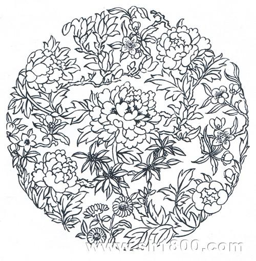 图3 传统花草图案《玉堂富贵》
