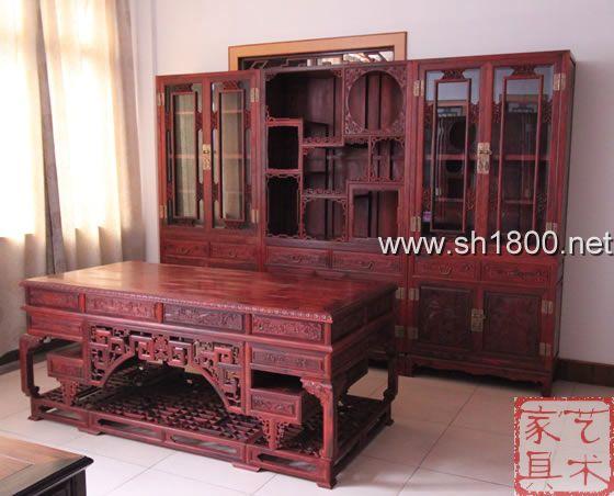 小叶紫檀三拼书房家具红木